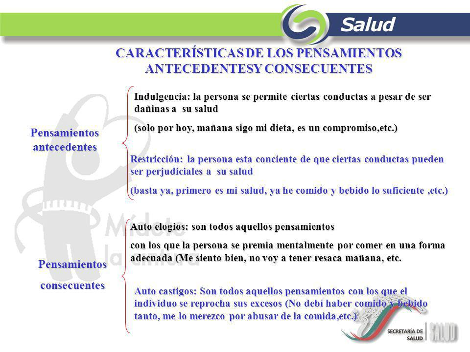 CARACTERÍSTICAS DE LOS PENSAMIENTOS ANTECEDENTESY CONSECUENTES
