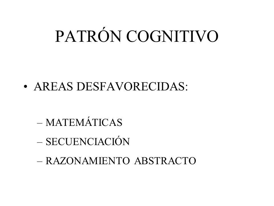 PATRÓN COGNITIVO AREAS DESFAVORECIDAS: MATEMÁTICAS SECUENCIACIÓN