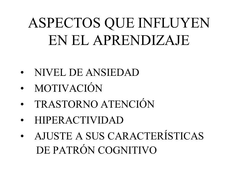 ASPECTOS QUE INFLUYEN EN EL APRENDIZAJE