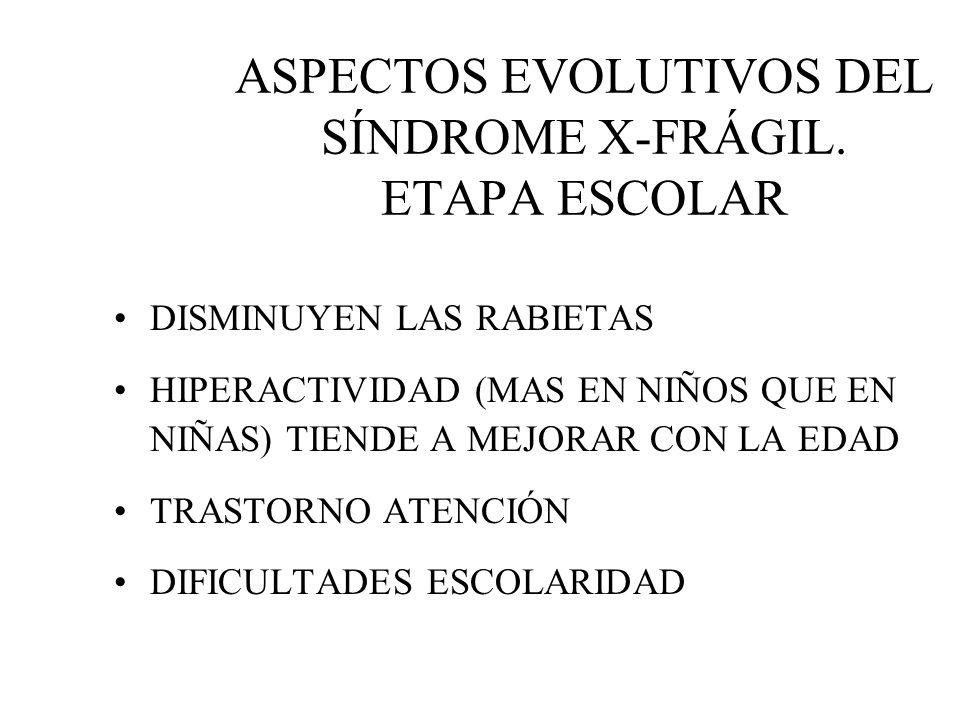 ASPECTOS EVOLUTIVOS DEL SÍNDROME X-FRÁGIL. ETAPA ESCOLAR