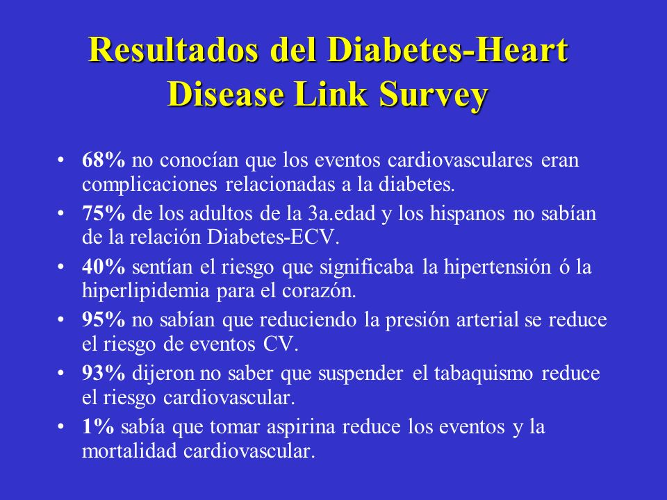 Resultados del Diabetes-Heart Disease Link Survey