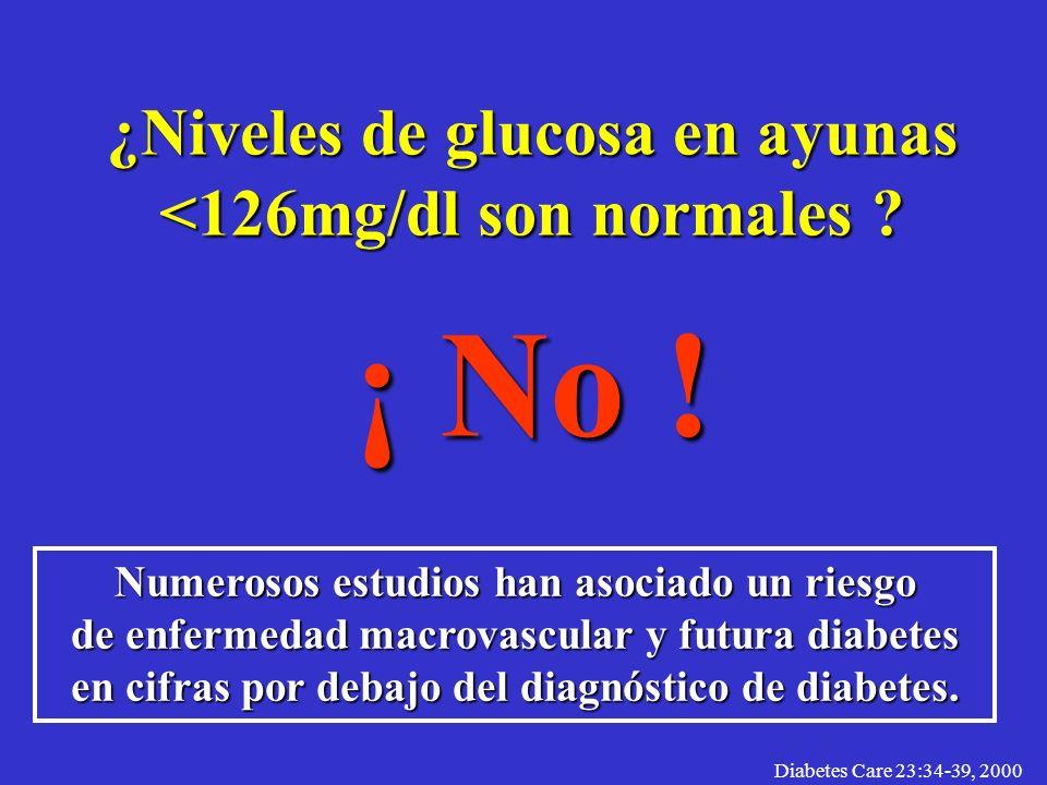 ¿Niveles de glucosa en ayunas <126mg/dl son normales