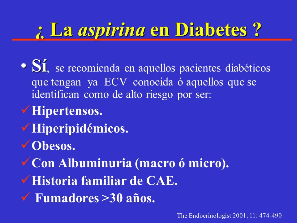 ¿ La aspirina en Diabetes