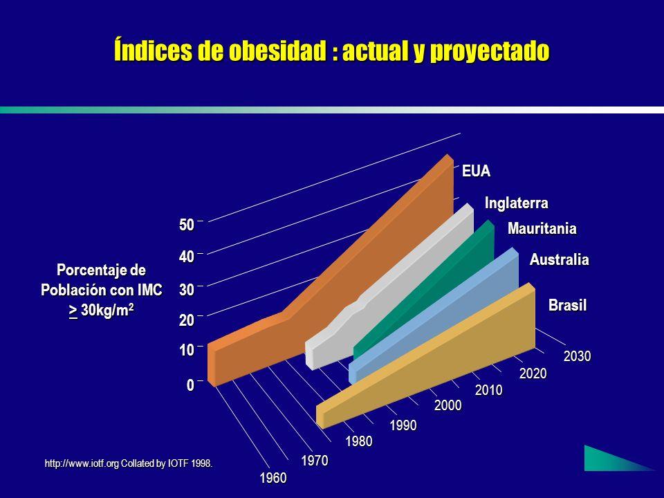 Índices de obesidad : actual y proyectado