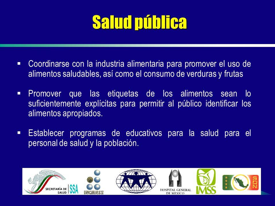 Salud pública Coordinarse con la industria alimentaria para promover el uso de alimentos saludables, así como el consumo de verduras y frutas.