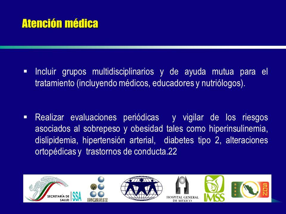 Atención médica Incluir grupos multidisciplinarios y de ayuda mutua para el tratamiento (incluyendo médicos, educadores y nutriólogos).