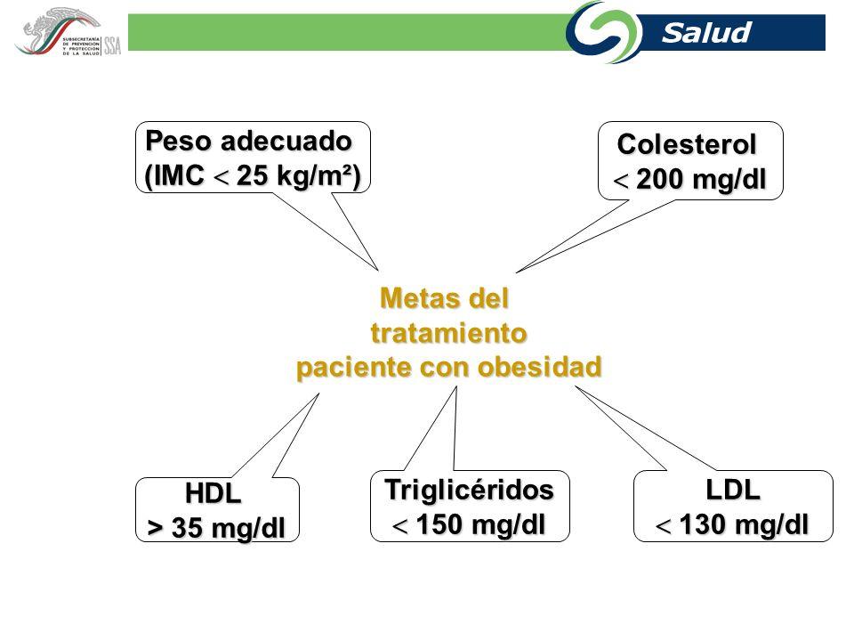 Peso adecuado (IMC  25 kg/m²) Colesterol  200 mg/dl Metas del