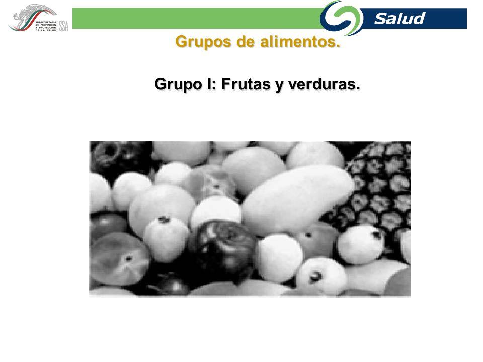 Grupo I: Frutas y verduras.