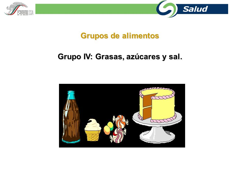 Grupo IV: Grasas, azúcares y sal.