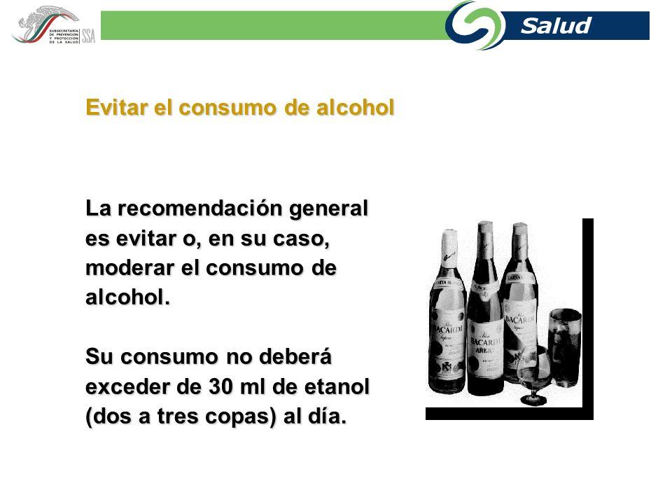 Evitar el consumo de alcohol