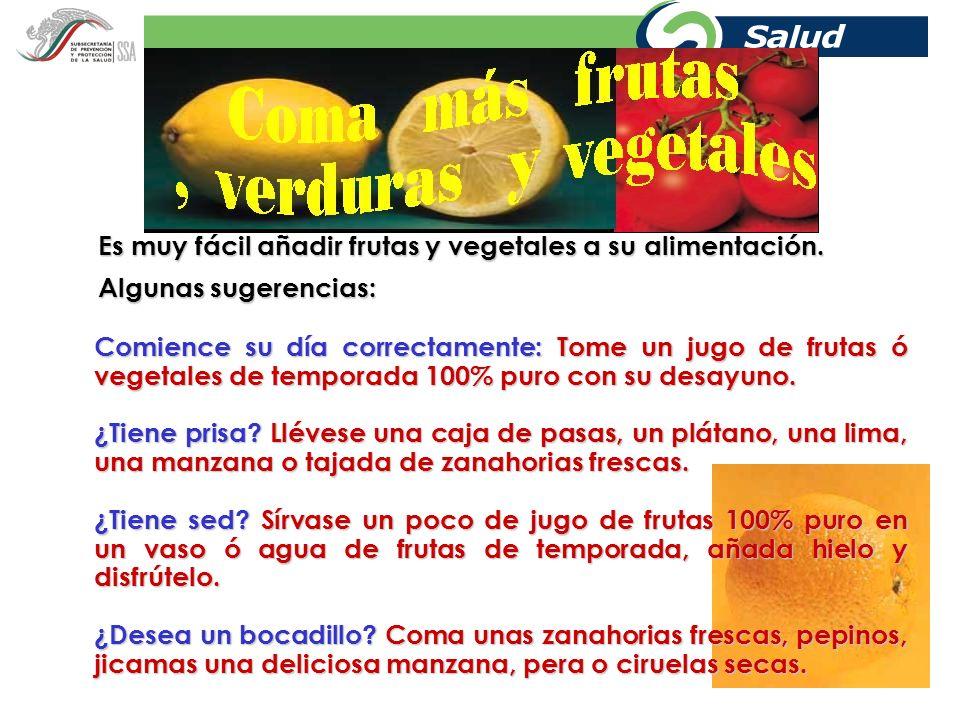 Es muy fácil añadir frutas y vegetales a su alimentación.