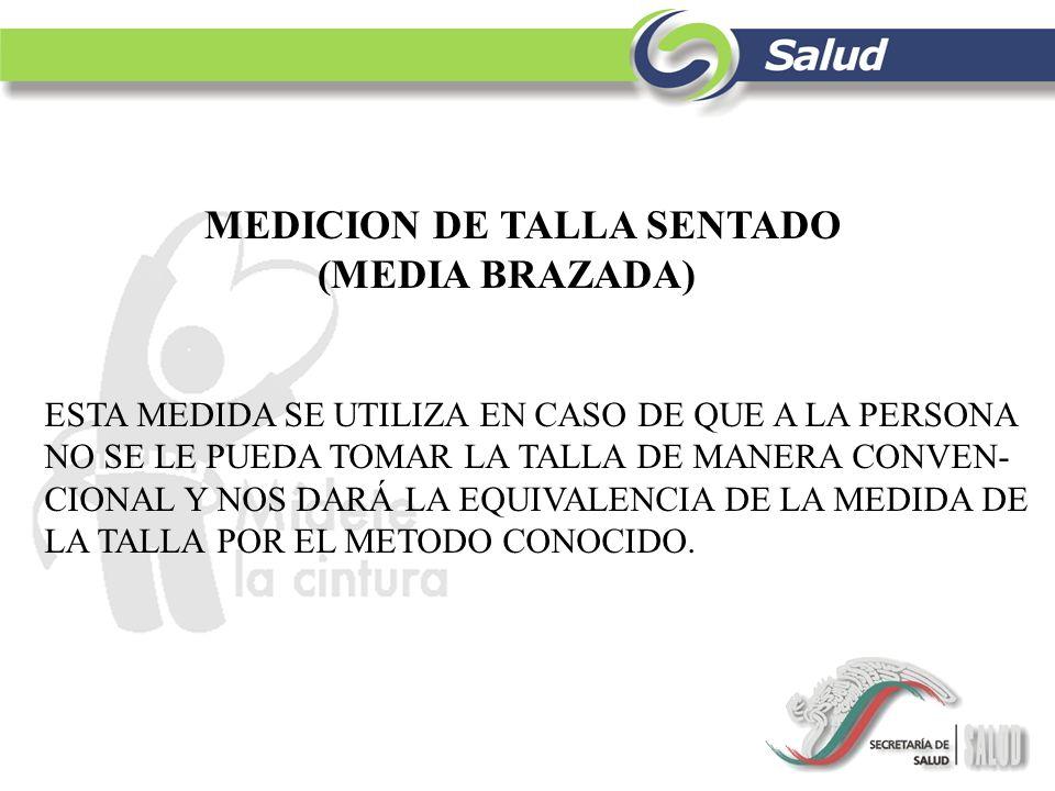MEDICION DE TALLA SENTADO (MEDIA BRAZADA)