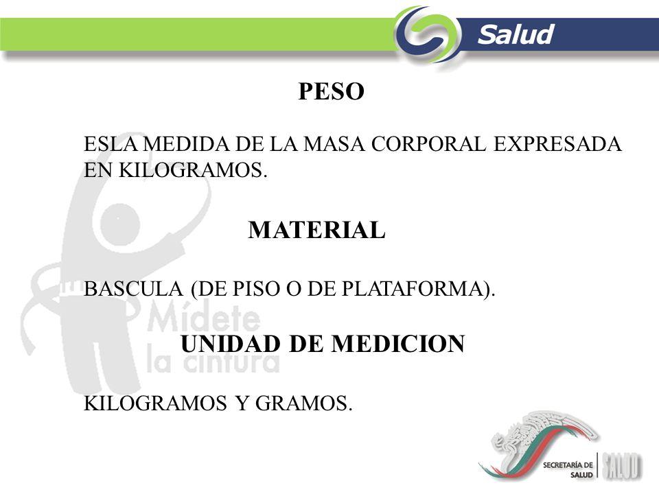 PESO MATERIAL UNIDAD DE MEDICION
