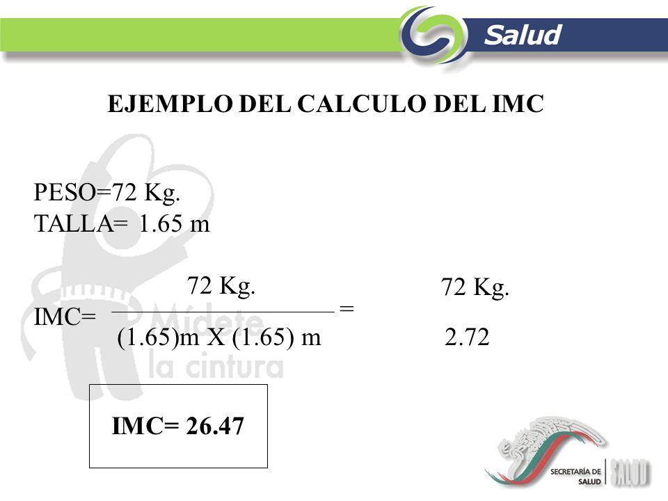 EJEMPLO DEL CALCULO DEL IMC