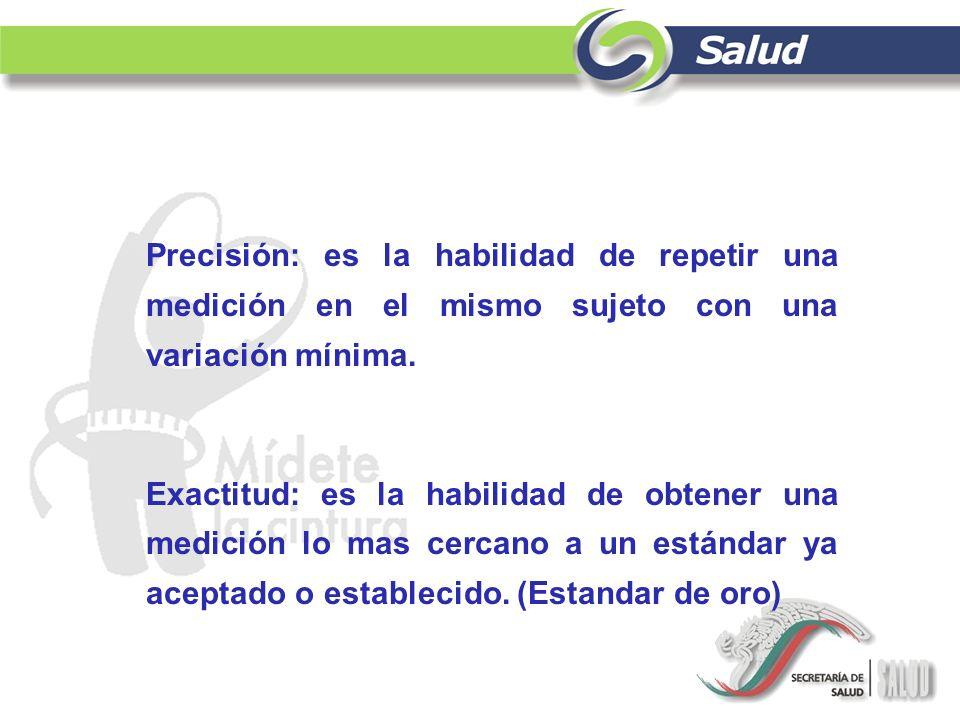 Precisión: es la habilidad de repetir una medición en el mismo sujeto con una variación mínima.