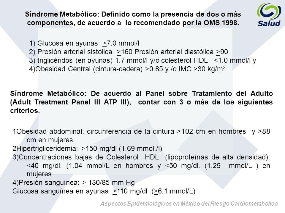 Síndrome Metabólico: Definido como la presencia de dos o más componentes, de acuerdo a lo recomendado por la OMS 1998.