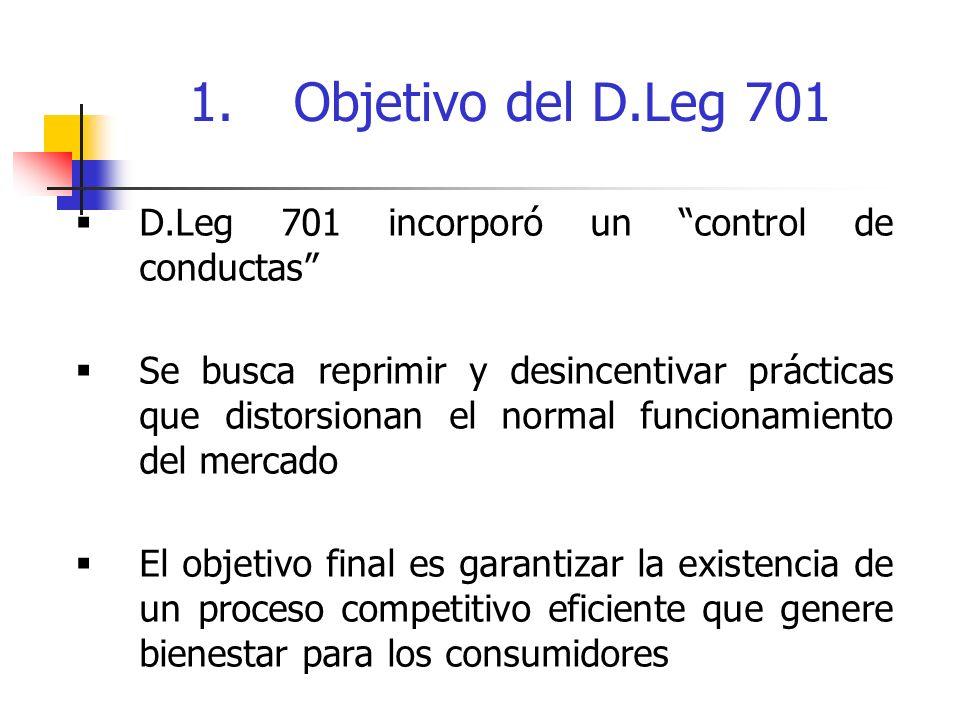 1. Objetivo del D.Leg 701 D.Leg 701 incorporó un control de conductas