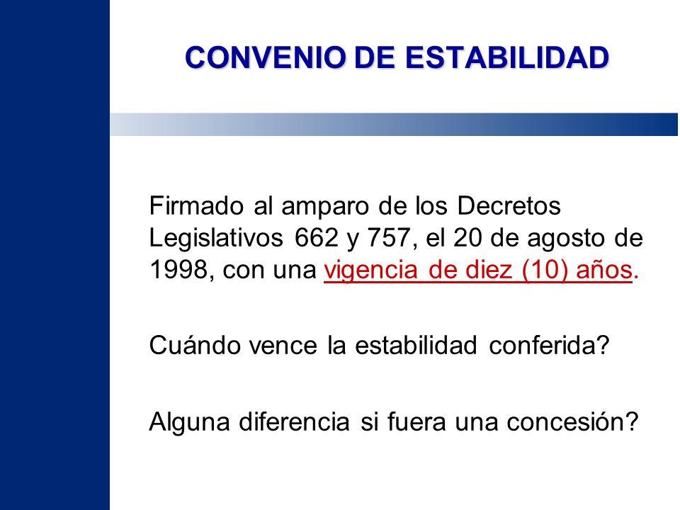 CONVENIO DE ESTABILIDAD