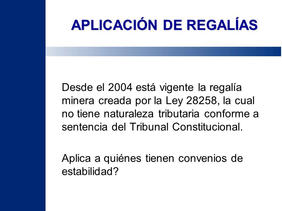 APLICACIÓN DE REGALÍAS