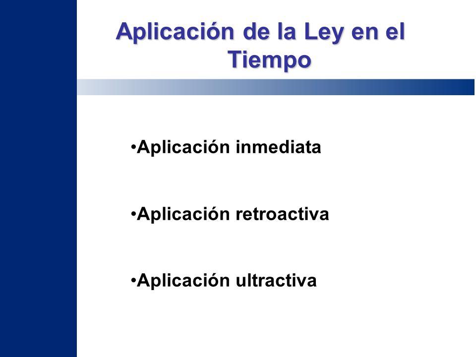 Aplicación inmediata Aplicación retroactiva Aplicación ultractiva