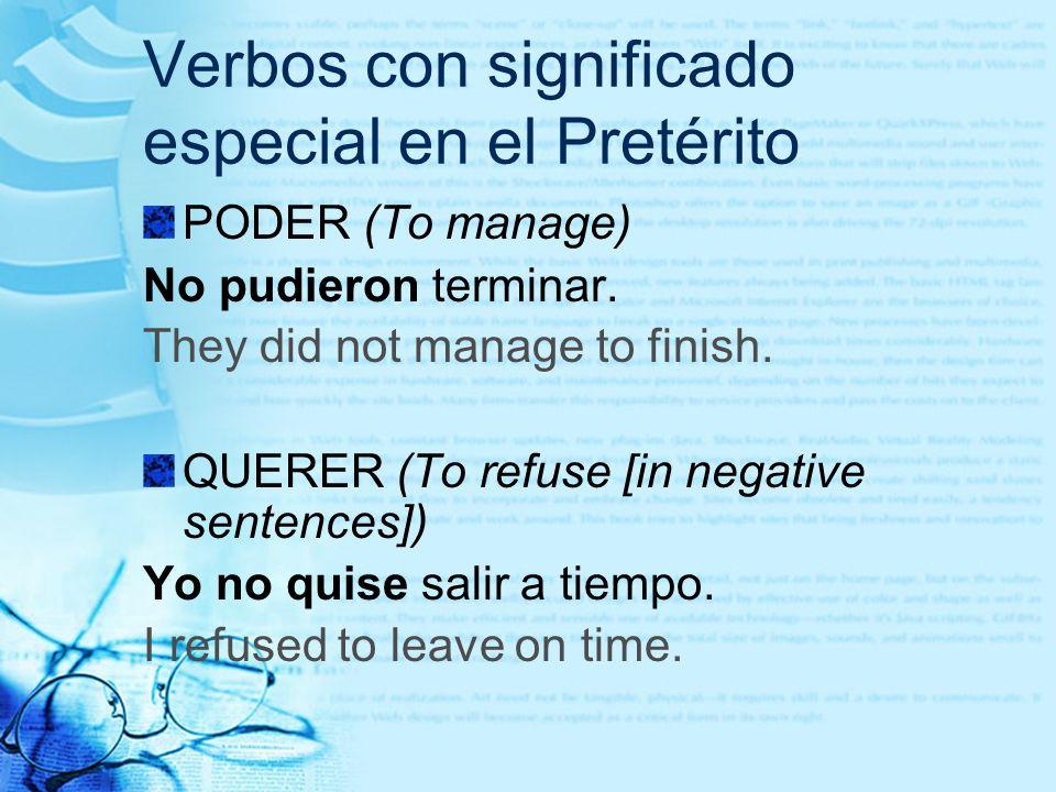Verbos con significado especial en el Pretérito