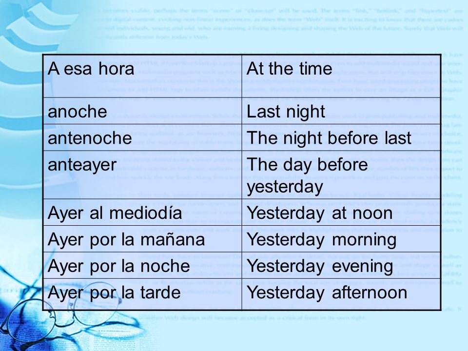 A esa hora At the time. anoche. Last night. antenoche. The night before last. anteayer. The day before yesterday.