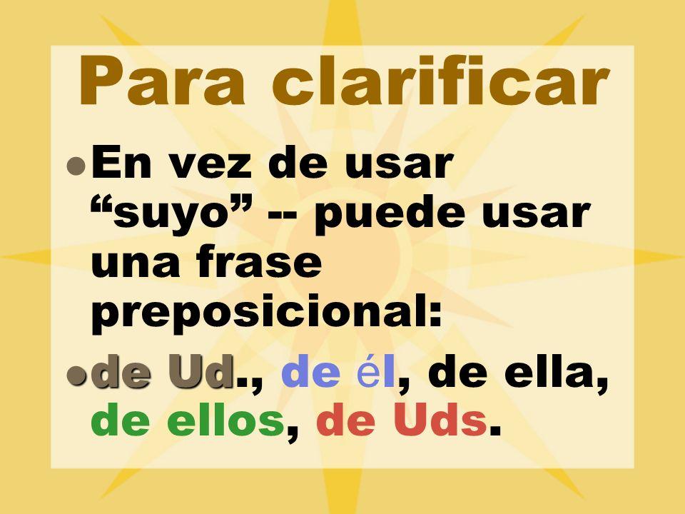 Para clarificar En vez de usar suyo -- puede usar una frase preposicional: de Ud., de él, de ella, de ellos, de Uds.