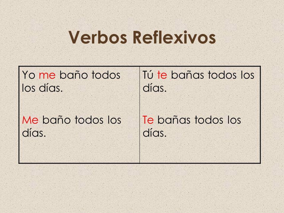 Verbos Reflexivos Yo me baño todos los días. Me baño todos los días.