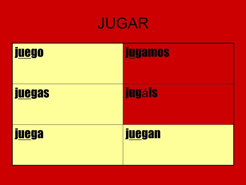 JUGAR juego jugamos juegas jugáis juega juegan