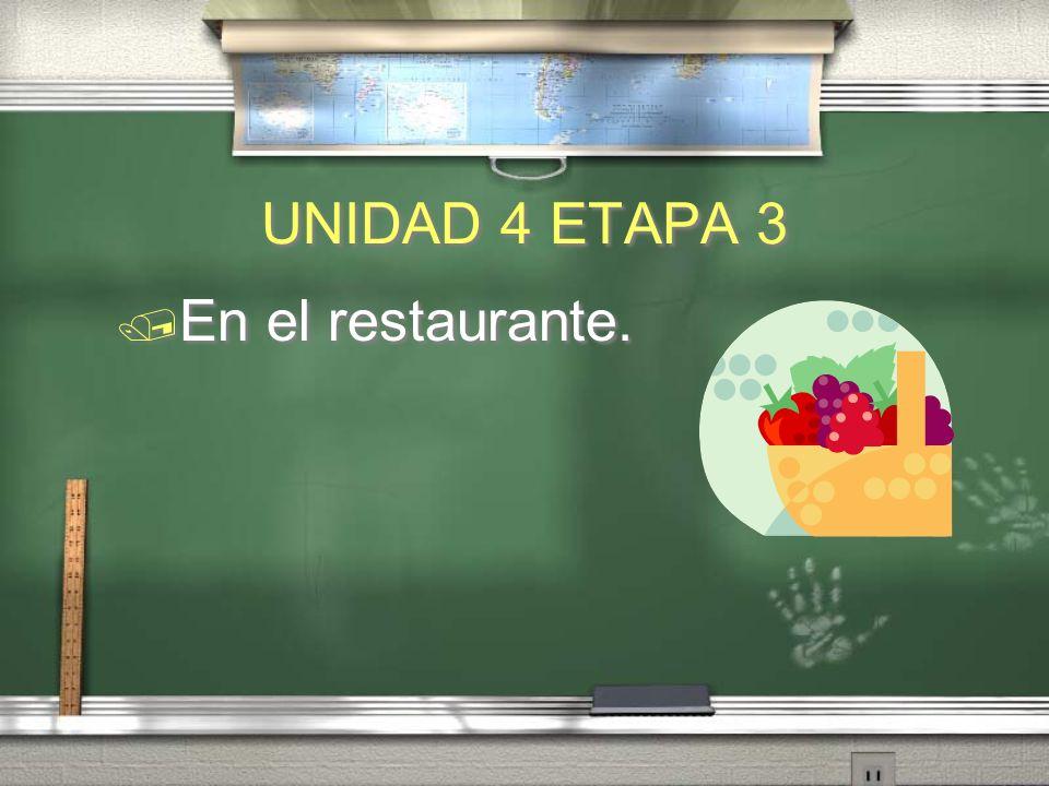 UNIDAD 4 ETAPA 3 En el restaurante.