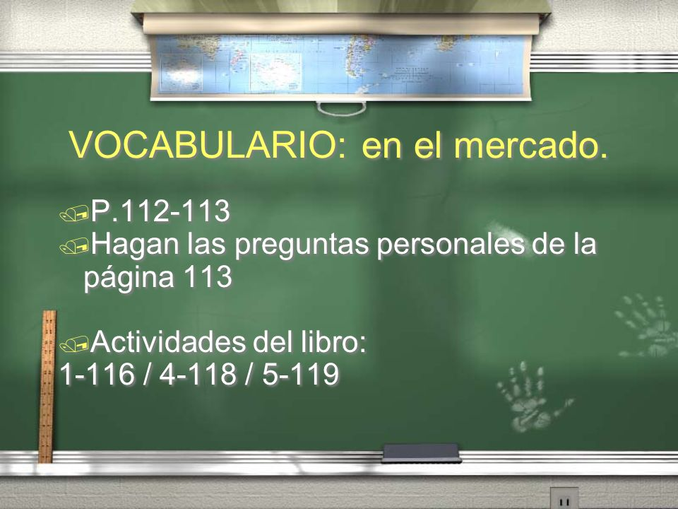 VOCABULARIO: en el mercado.