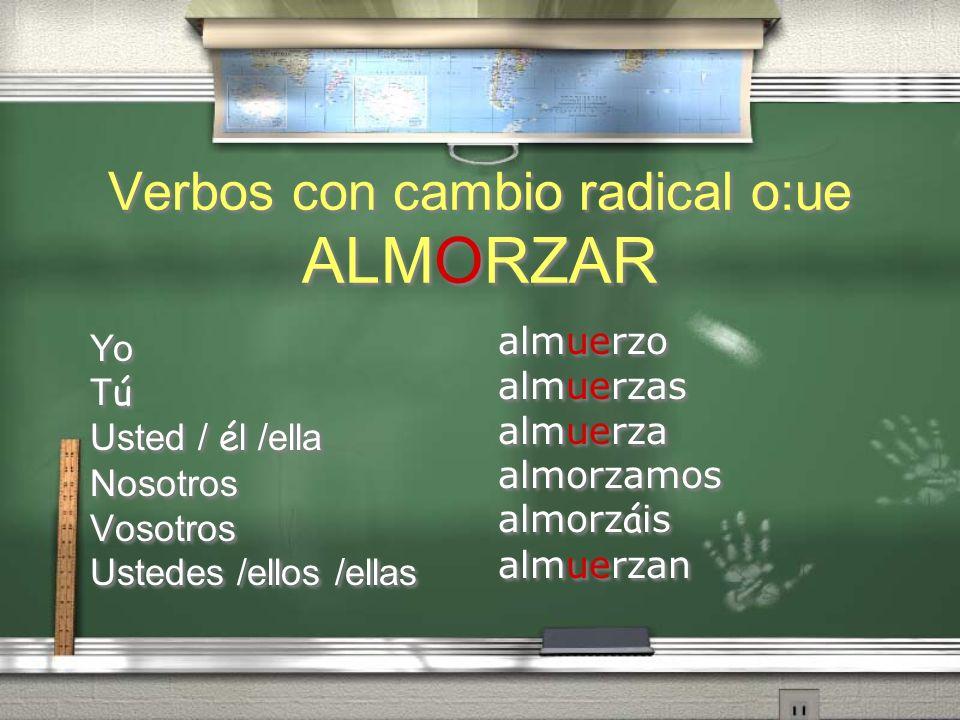 Verbos con cambio radical o:ue ALMORZAR