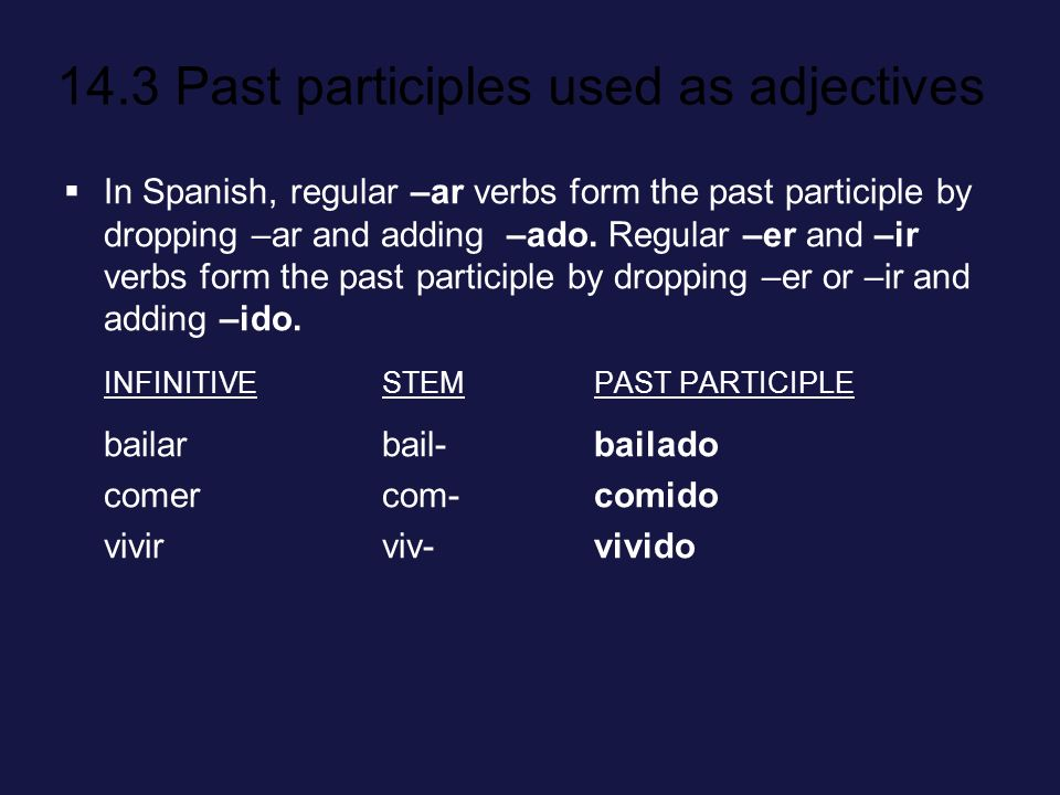 In Spanish, regular –ar verbs form the past participle by dropping –ar and adding –ado. Regular –er and –ir verbs form the past participle by dropping –er or –ir and adding –ido.