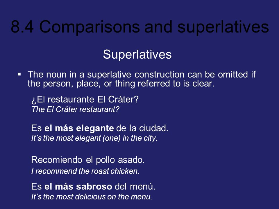 SuperlativesThe noun in a superlative construction can be omitted if the person, place, or thing referred to is clear.