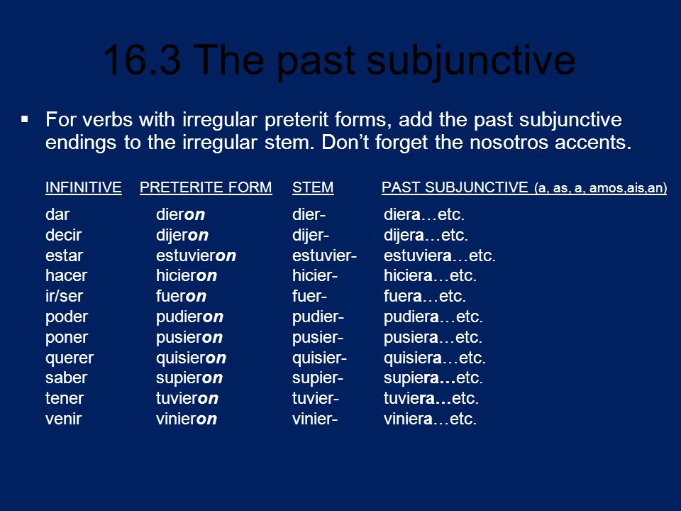 For verbs with irregular preterit forms, add the past subjunctive endings to the irregular stem. Don't forget the nosotros accents.