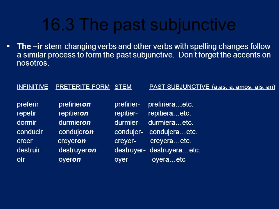 The –ir stem-changing verbs and other verbs with spelling changes follow a similar process to form the past subjunctive. Don't forget the accents on nosotros.