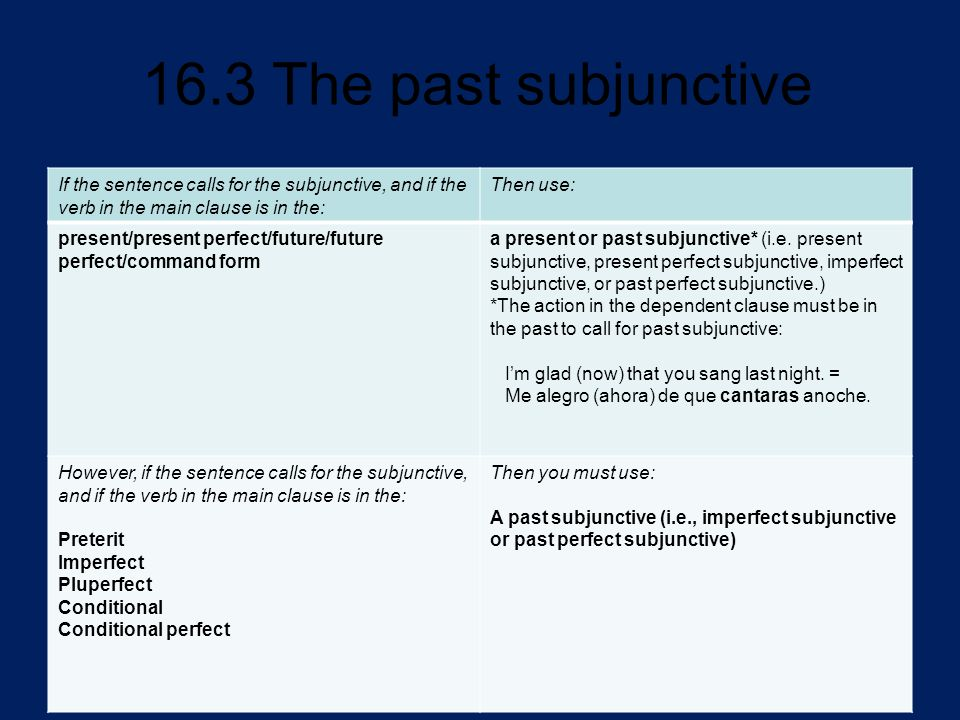 If the sentence calls for the subjunctive, and if the verb in the main clause is in the: