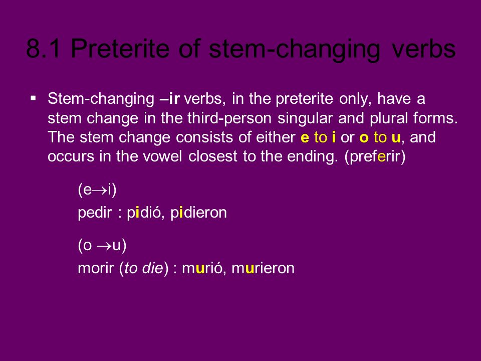 Stem-changing –ir verbs, in the preterite only, have a stem change in the third-person singular and plural forms. The stem change consists of either e to i or o to u, and occurs in the vowel closest to the ending. (preferir)