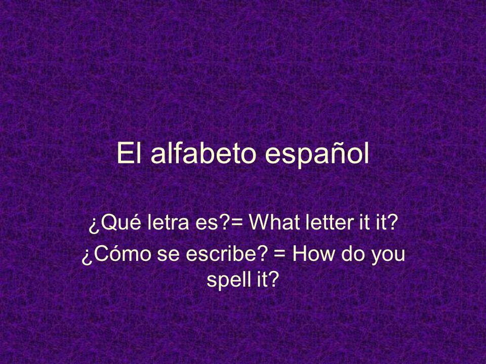 El alfabeto español ¿Qué letra es = What letter it it