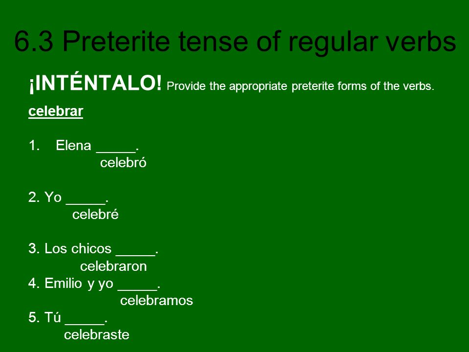 ¡INTÉNTALO! Provide the appropriate preterite forms of the verbs.