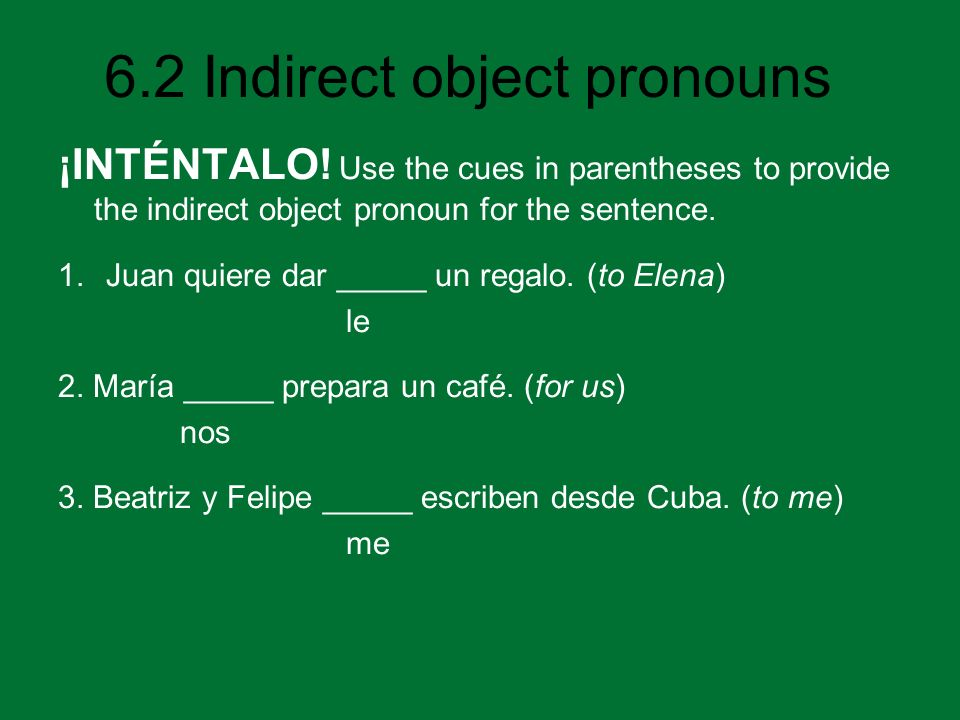 ¡INTÉNTALO! Use the cues in parentheses to provide the indirect object pronoun for the sentence.