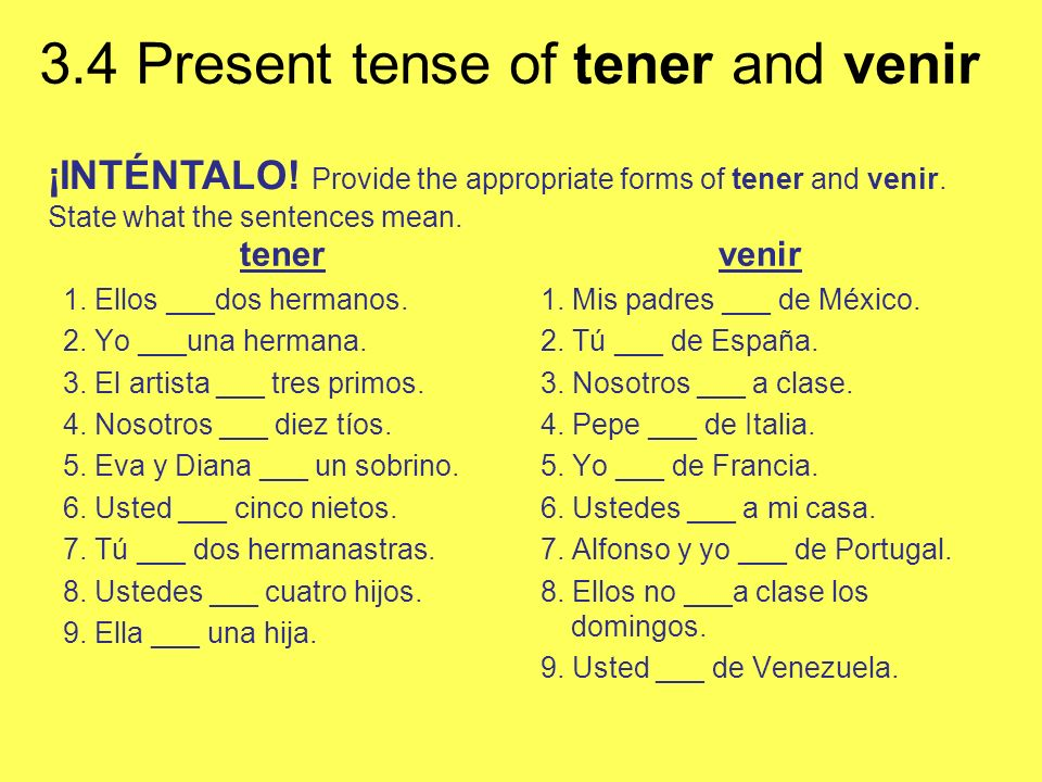 ¡INTÉNTALO. Provide the appropriate forms of tener and venir