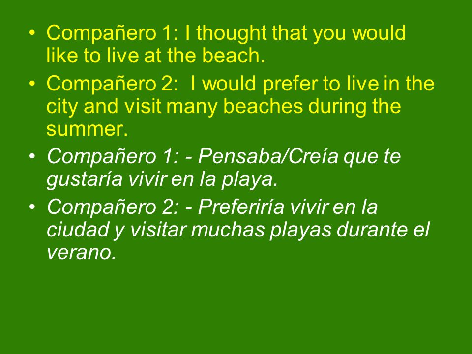 Compañero 1: I thought that you would like to live at the beach.