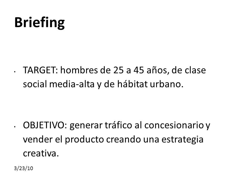 Briefing TARGET: hombres de 25 a 45 años, de clase social media-alta y de hábitat urbano.