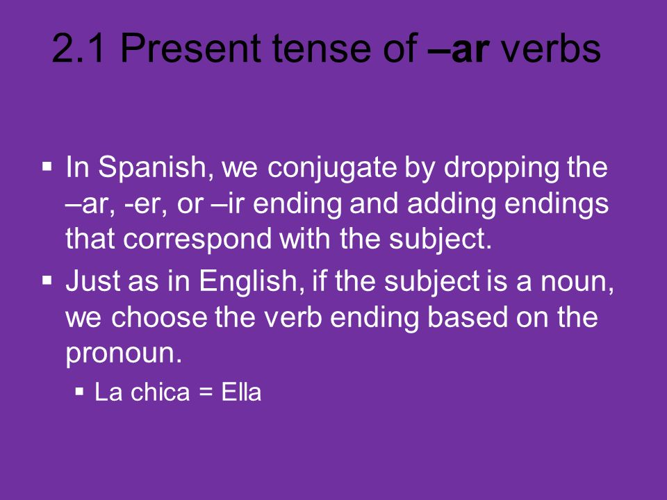 In Spanish, we conjugate by dropping the –ar, -er, or –ir ending and adding endings that correspond with the subject.