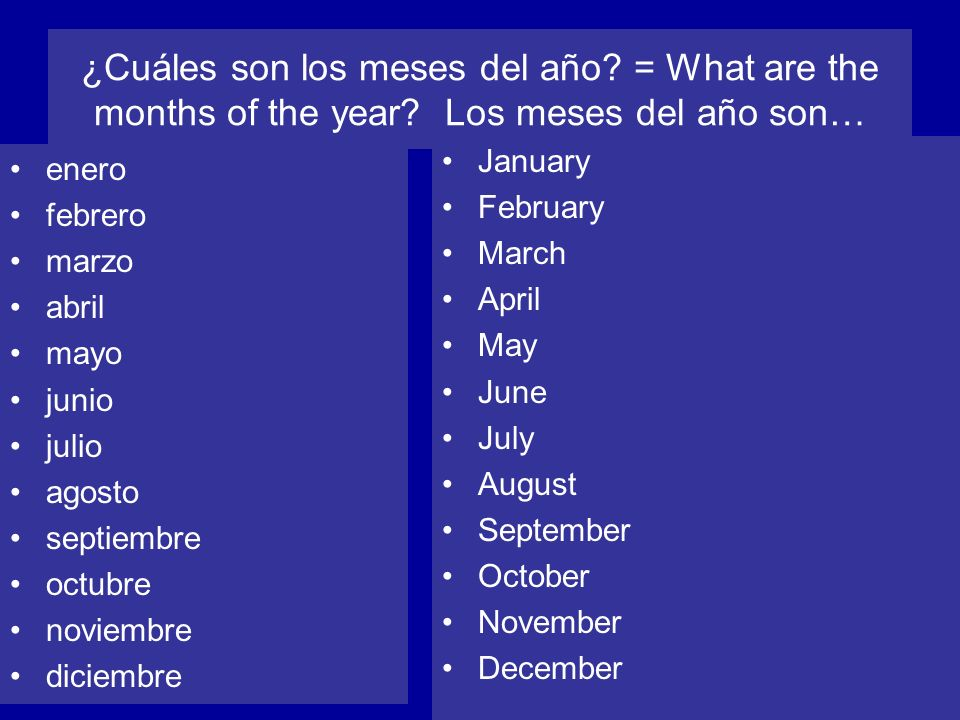 ¿Cuáles son los meses del año. = What are the months of the year