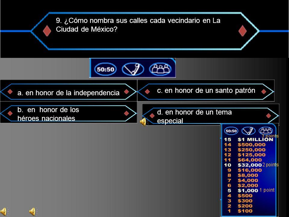 9. ¿Cómo nombra sus calles cada vecindario en La Ciudad de México