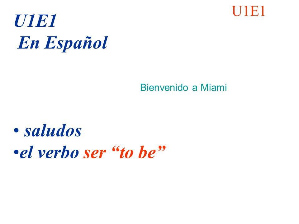 U1E1 U1E1 En Español saludos el verbo ser to be Bienvenido a Miami