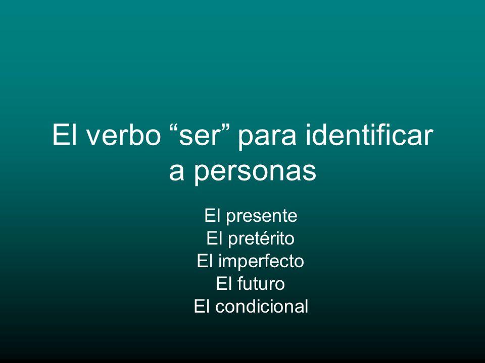 El verbo ser para identificar a personas