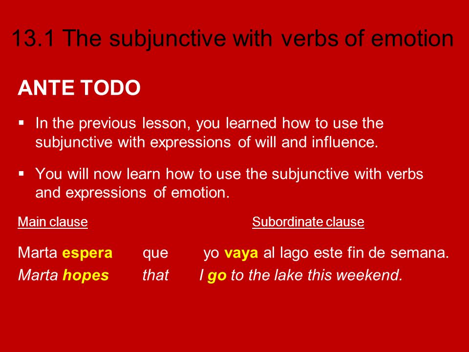 ANTE TODO In the previous lesson, you learned how to use the subjunctive with expressions of will and influence.